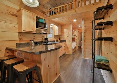 Tiny Cabin Vacation Rental Kitchen with Shelving